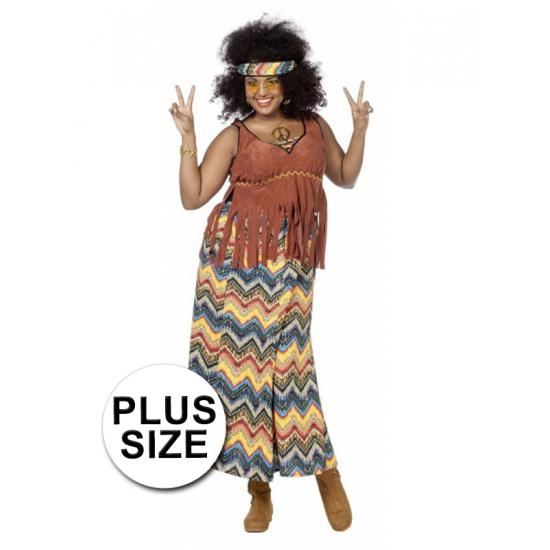 Grote maten hippie kostuum voor dames