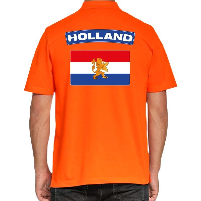 Grote maten Holland supporter poloshirt oranje voor heren