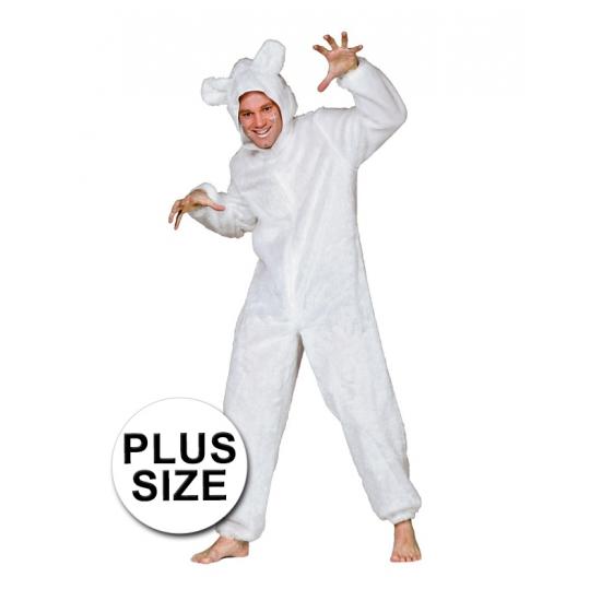 Grote maten ijsberen pak voor volwassenen 56 (2XL) Wit