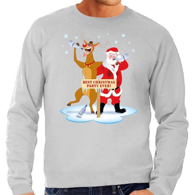 Grote maten kersttrui dronken kerstman en rendier grijs heren