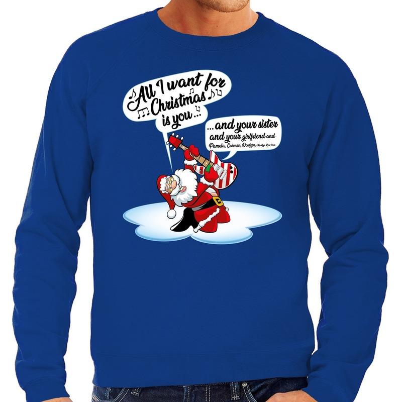 Grote maten Kersttrui zingende kerstman met gitaar blauw heren