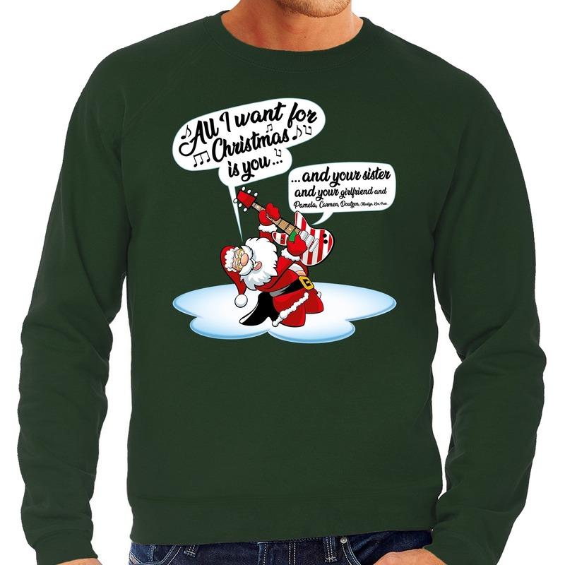 Grote maten Kersttrui zingende kerstman met gitaar groen heren
