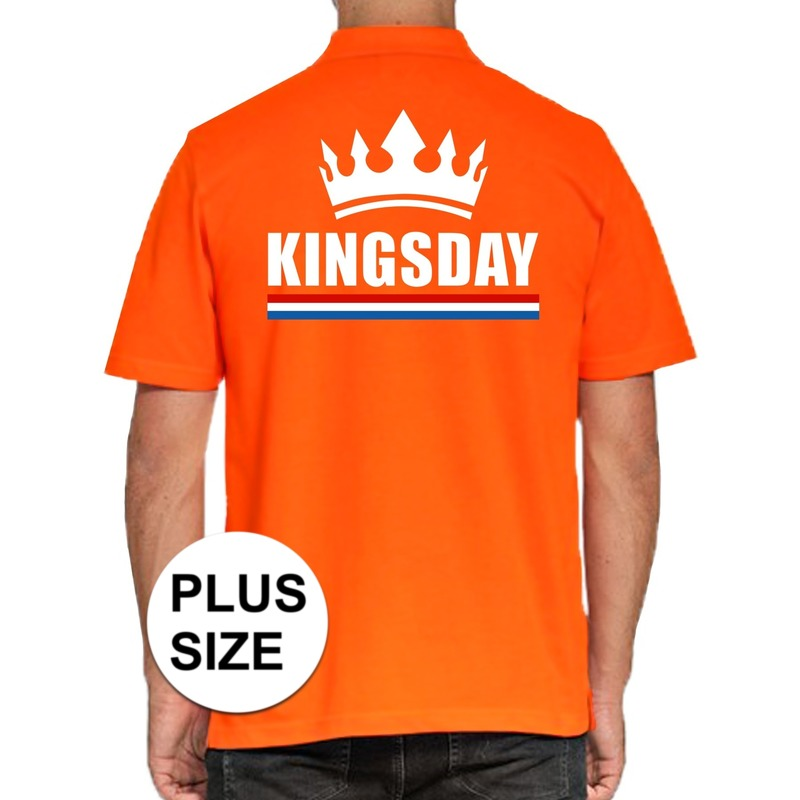 Grote maten Koningsdag poloshirt Kingsday oranje voor heren
