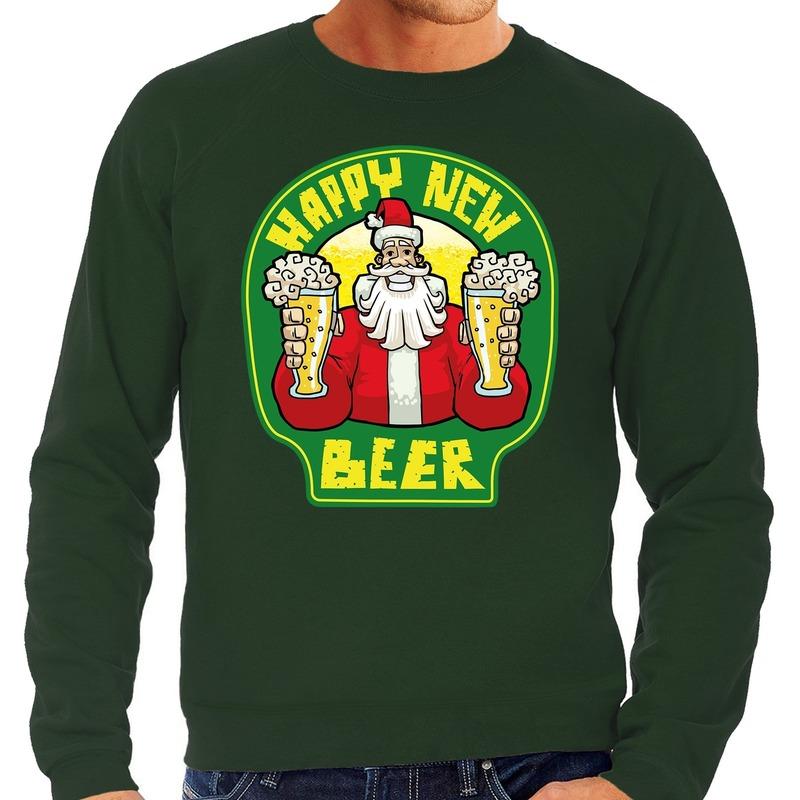 Grote maten Nieuwjaar - Kersttrui happy new beer groen heren