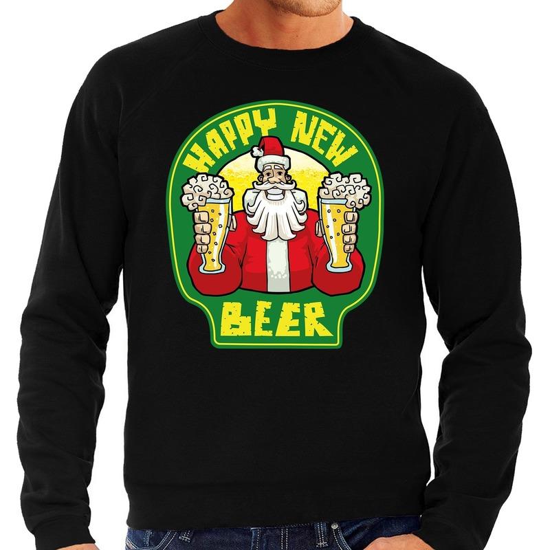 Grote maten Nieuwjaar - Kersttrui happy new beer zwart heren
