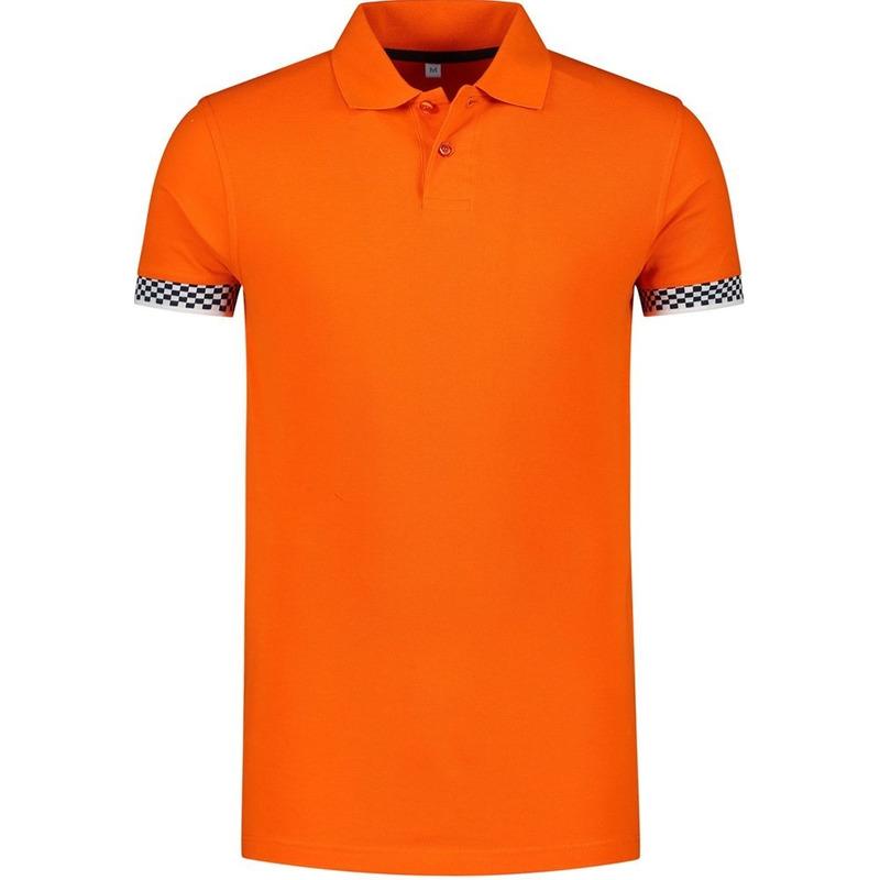 Grote maten oranje polo shirt racing/Formule 1 voor heren