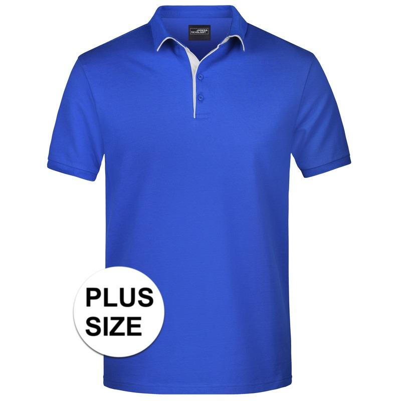 Grote maten polo shirt Golf Pro premium blauw/wit voor heren