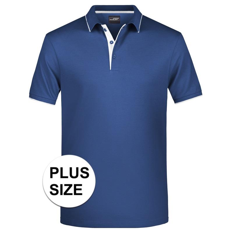 Grote maten polo shirt Golf Pro premium navy/wit voor heren