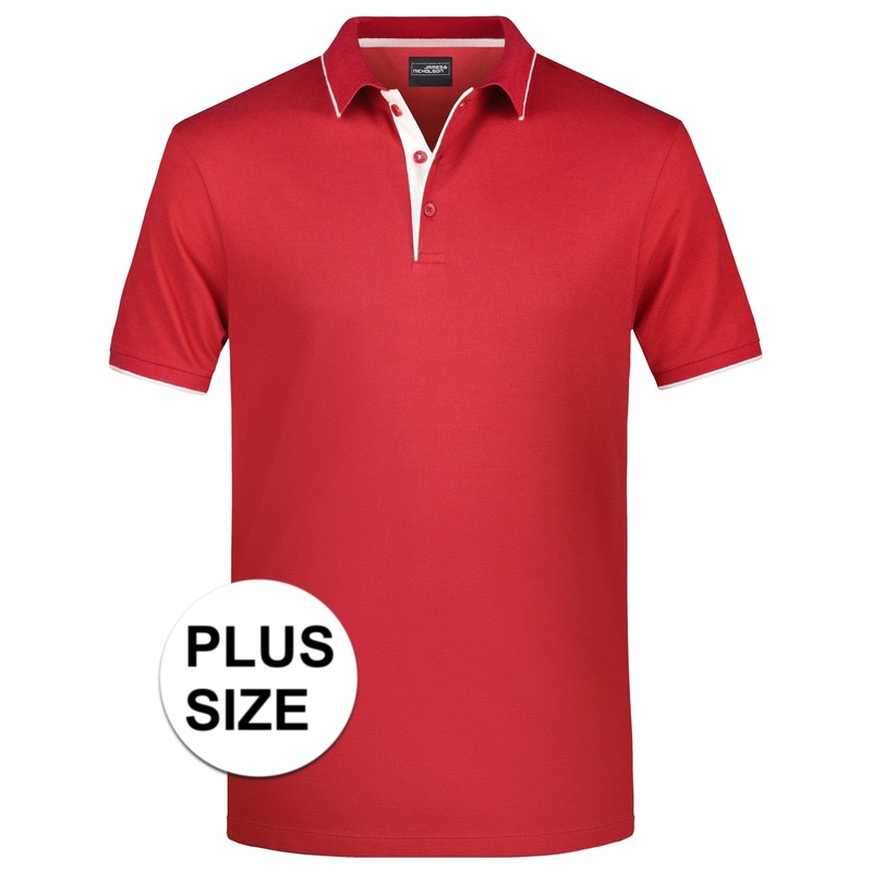 Grote maten polo shirt Golf Pro premium rood/wit voor heren