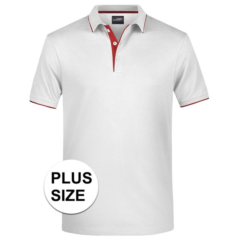 Grote maten polo shirt Golf Pro premium wit/rood voor heren
