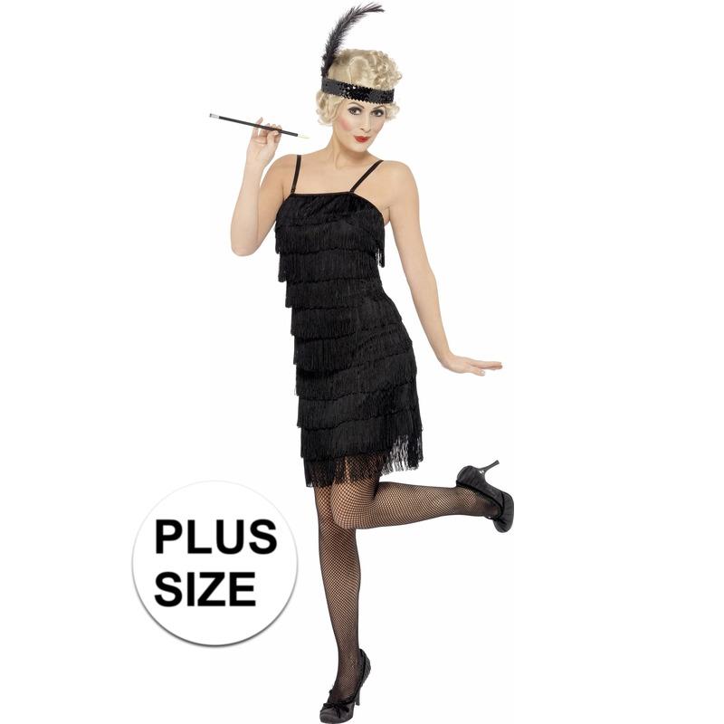 Grote maten zwart Flapper jaren 20 kostuum voor dames