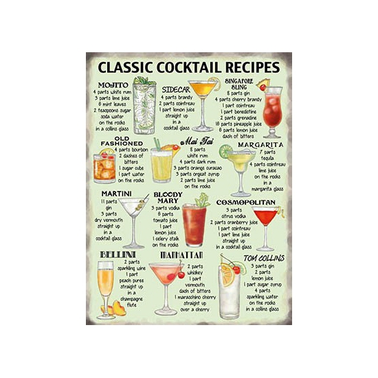 Grote muurplaat Cocktail Recipes 30x40cm