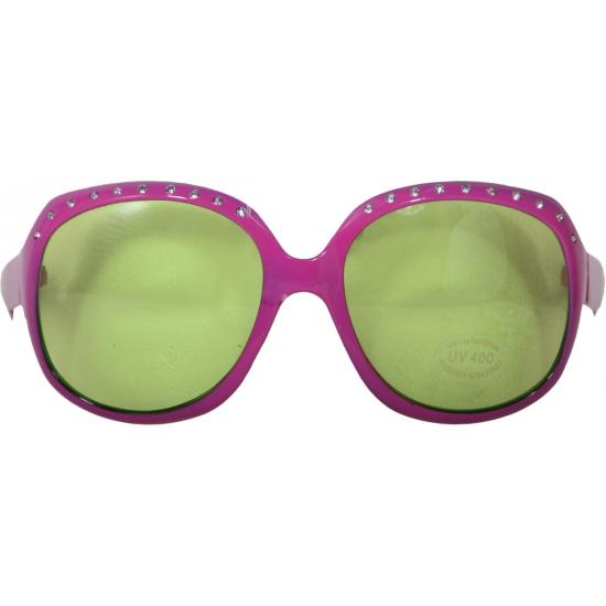 Grote roze bril met steentjes