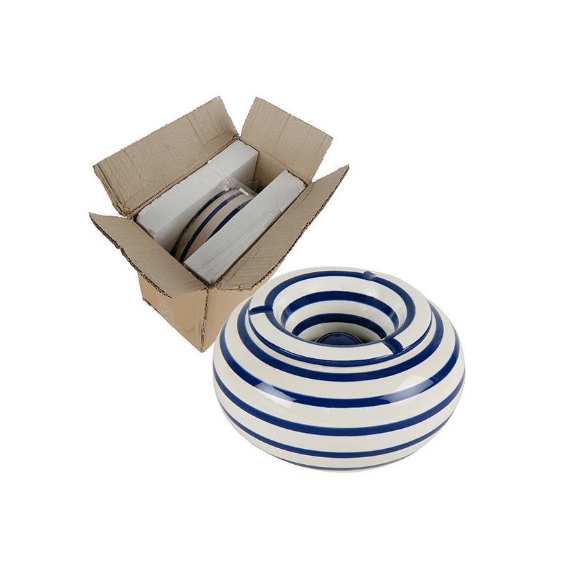 Grote terras asbak/stormasbak blauw/wit gestreept 22 x 11 cm