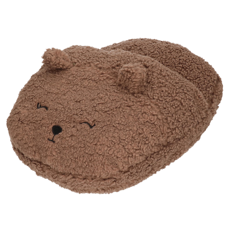 Grote voetenwarmer pantoffel/slof beer chocolade bruin one size 30 x 27 cm One size -