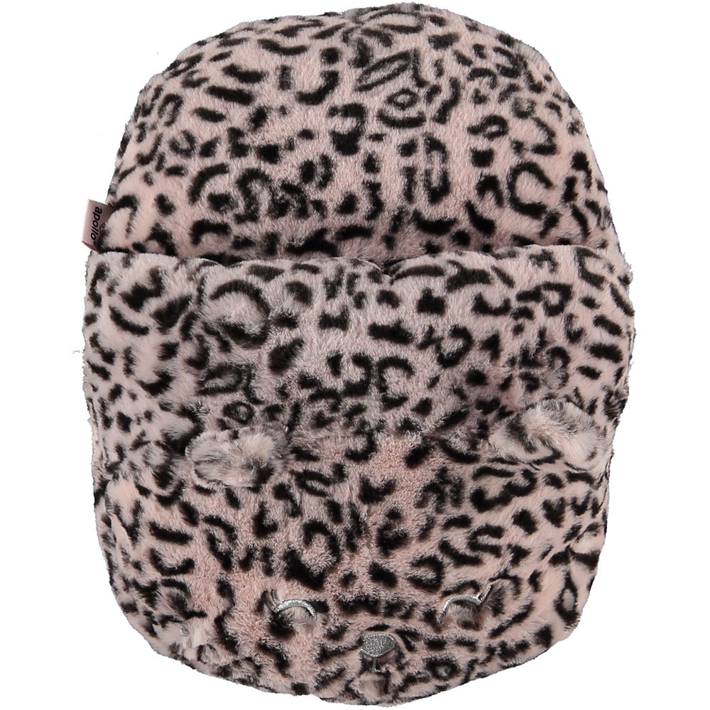 Grote voetenwarmer pantoffel/slof cheetah print oud roze one size 30 x 27 cm One size -