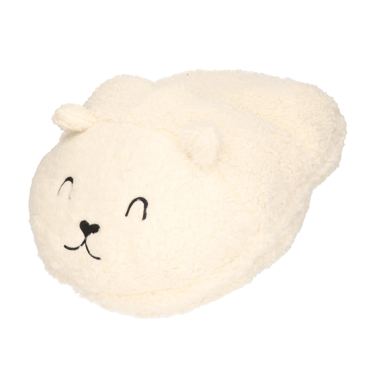 Grote voetenwarmer pantoffel/slof ijsbeer wit one size 30 x 27 cm One size -