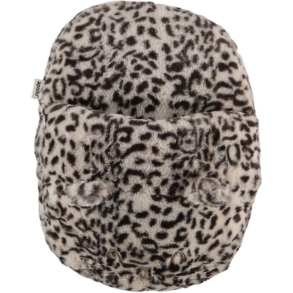 Grote voetenwarmer slof cheetah print creme one size 30 x 27 cm One size -