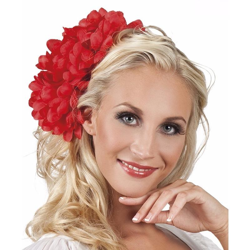 Haarbloem rode Dahlia met clip 20 cm