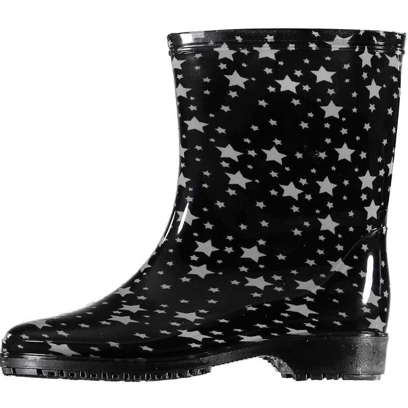 Half hoge dames regenlaarzen zwart met sterren print dames