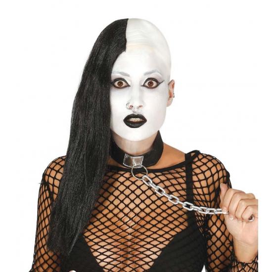 Half kale zwarte gothic pruik
