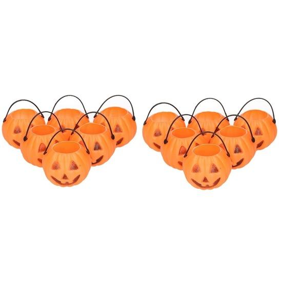 Halloween - 12x Halloween pompoen emmers 5 cm
