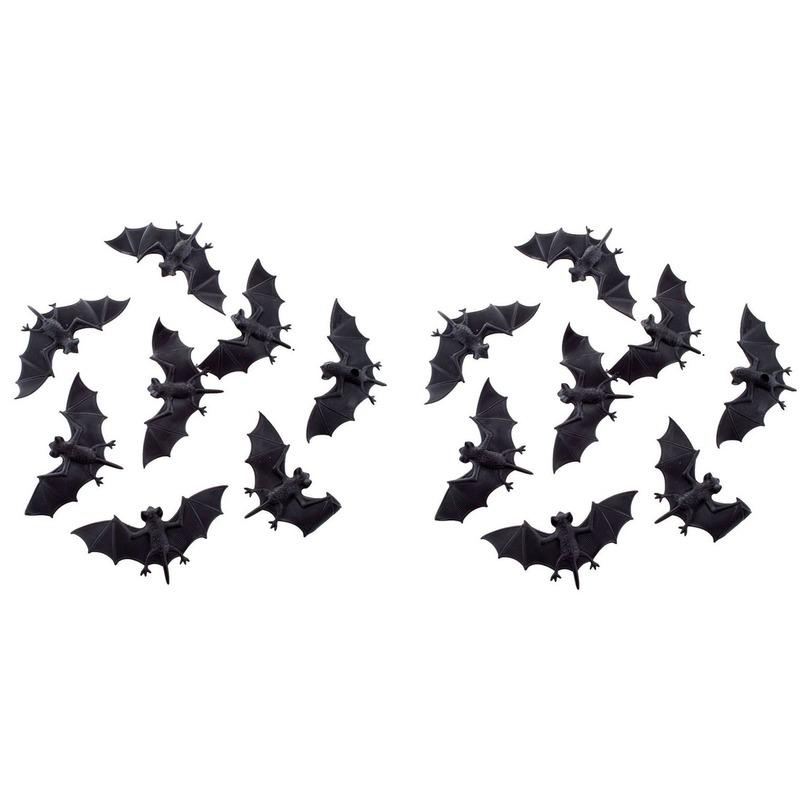 Halloween - 16x Plastic vleermuizen 10 cm