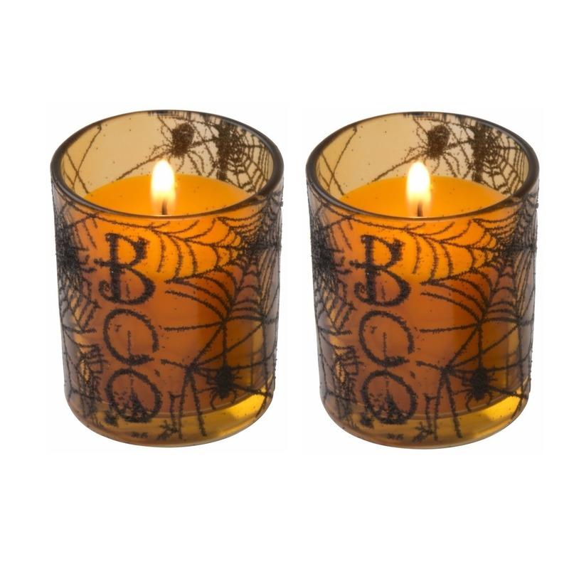 Halloween - 2x Halloween kaars oranje in glazen houder 6 cm