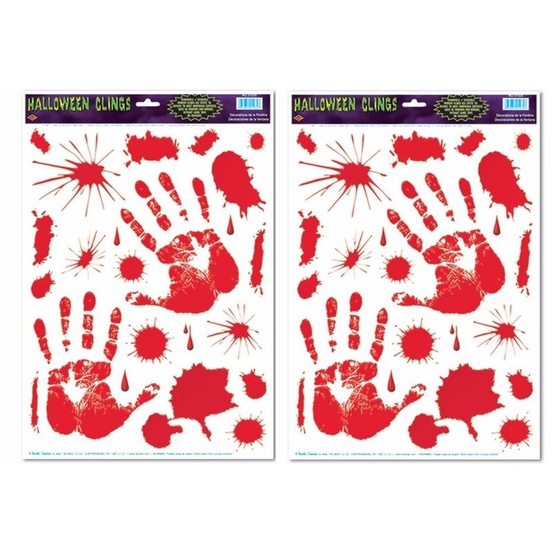 Halloween - 2x Halloween raamsticker met bloed handen