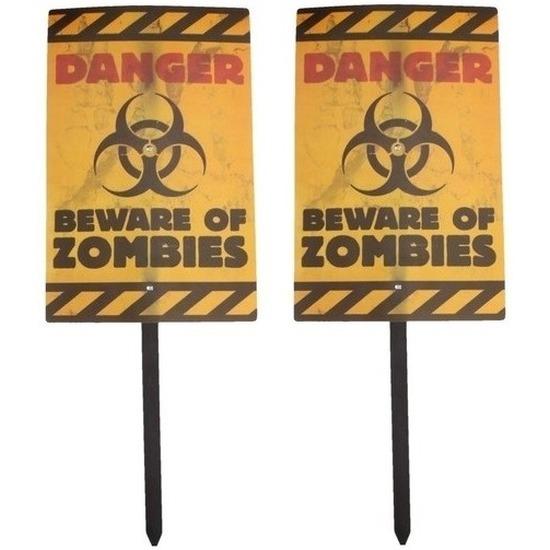 Halloween - 2x Halloween zombie waarschuwingsborden Danger 38 cm