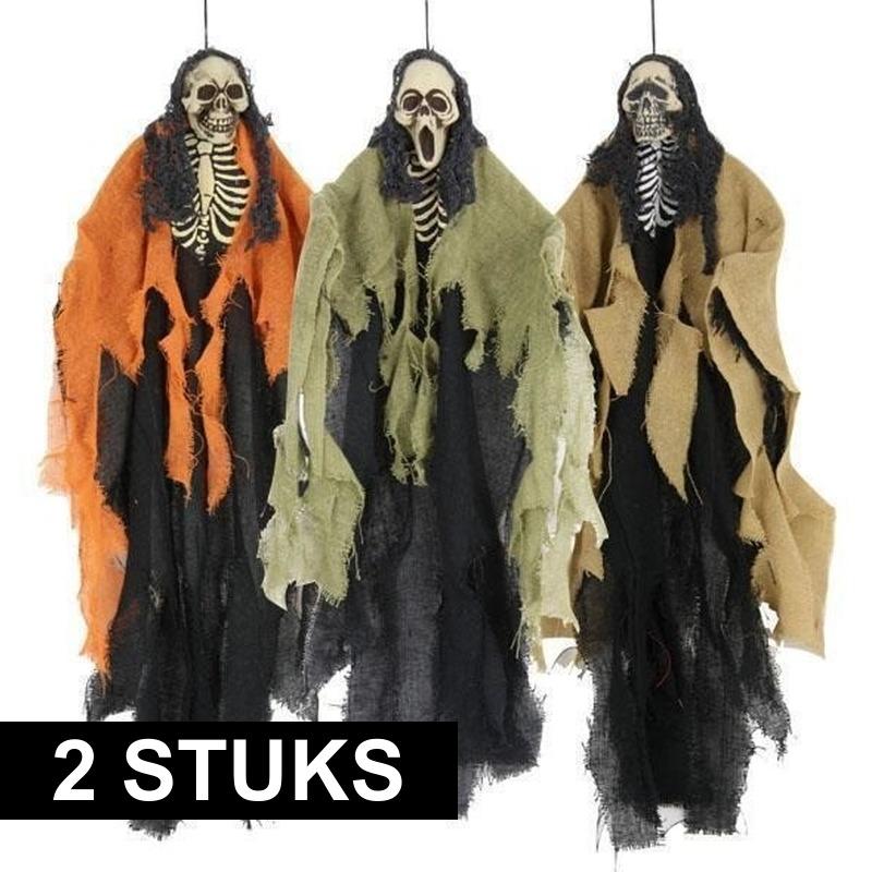 Halloween - 2x Horror skeletten hangdecoratie Halloween van 60 cm