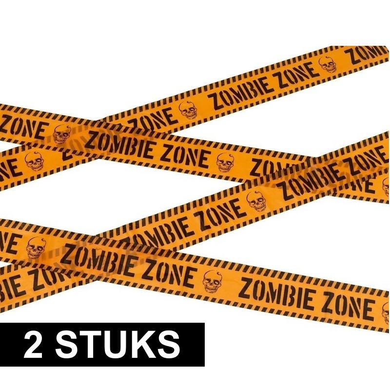Halloween - 2x Markeerlint Halloween Zombie zone 6 meter