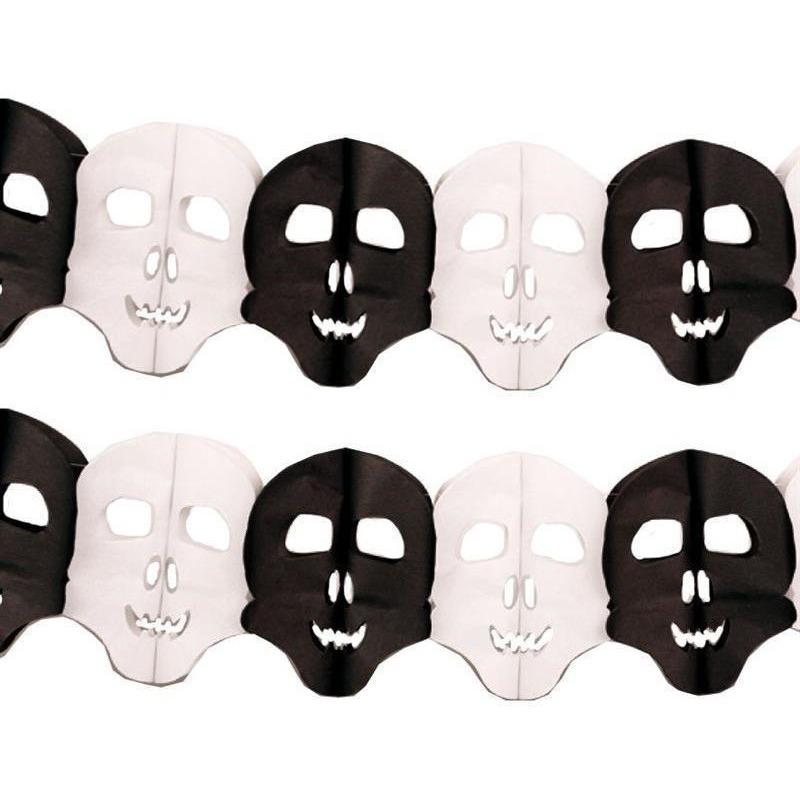 Halloween - 2x Papieren Halloween doodshoofd slingers 6 meter