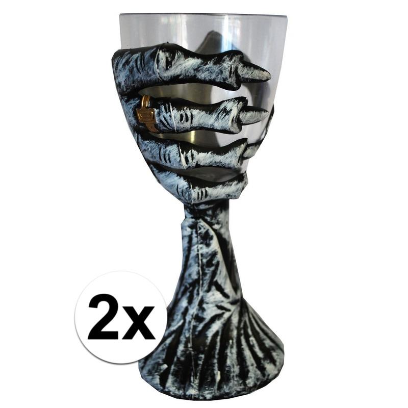 Halloween - 2x Skelet hand Halloween drinkbekers 20 cm