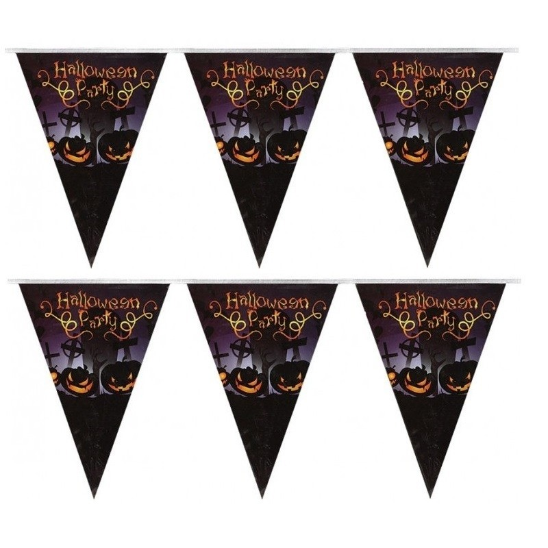 Halloween - 2x Vlaggenlijnen/slingers Halloween Party 250 cm