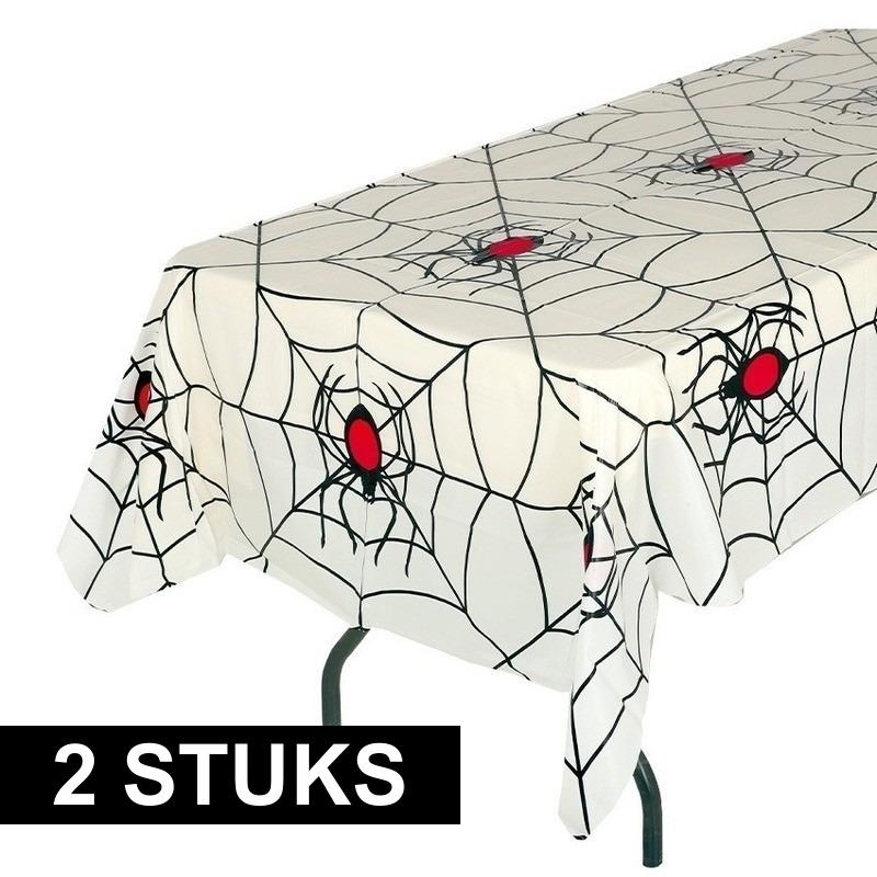 Halloween - 2x Wit halloween spinnenweb tafelkleed 135 x 270 cm