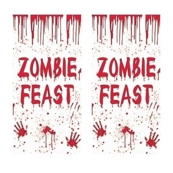 Halloween - 2x Zombie Feast deurposters 75 x 150 cm Halloween decoratie