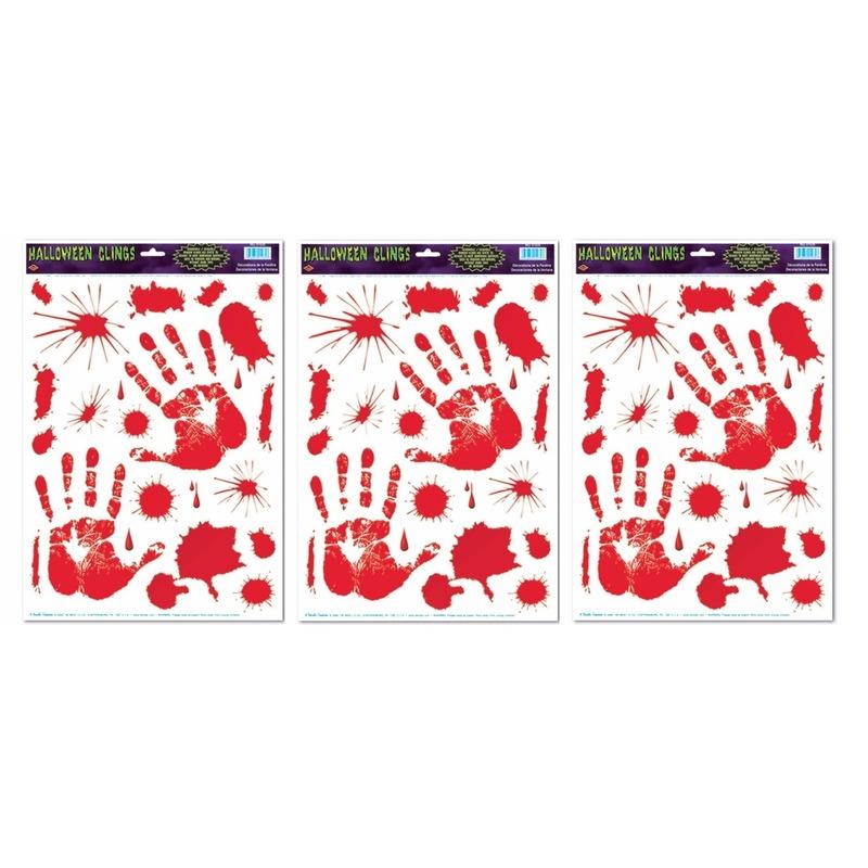 Halloween - 3x Halloween raamsticker met bloed handen