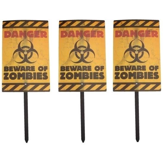 Halloween - 3x Halloween zombie waarschuwingsborden Danger 38 cm