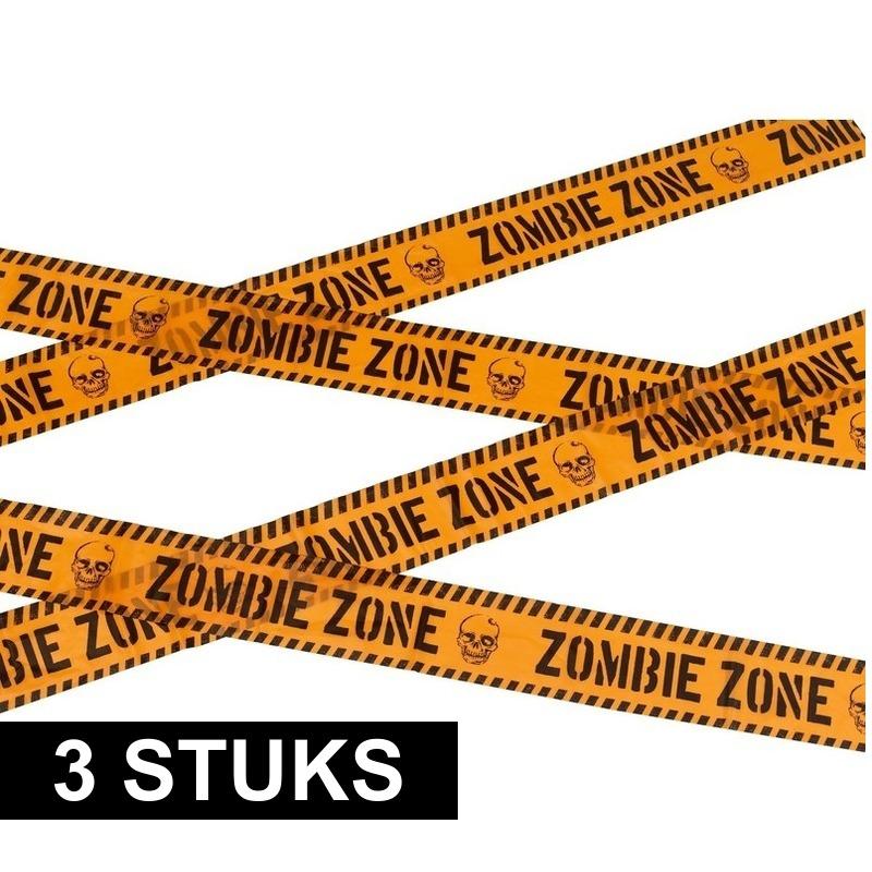 Halloween - 3x Markeerlint Halloween Zombie zone 6 meter
