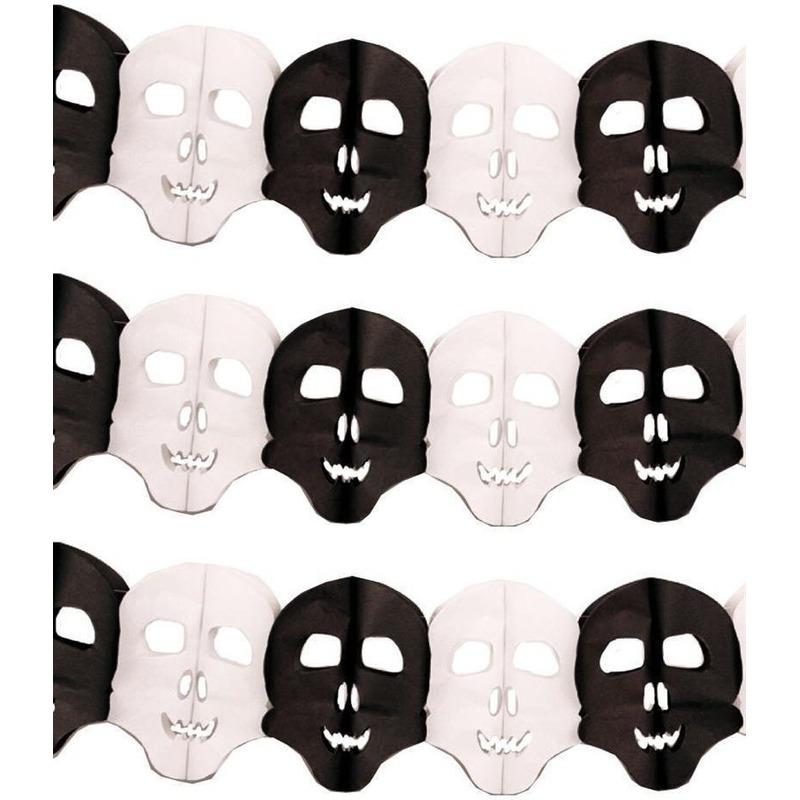 Halloween - 3x Papieren Halloween doodshoofd slingers 6 meter