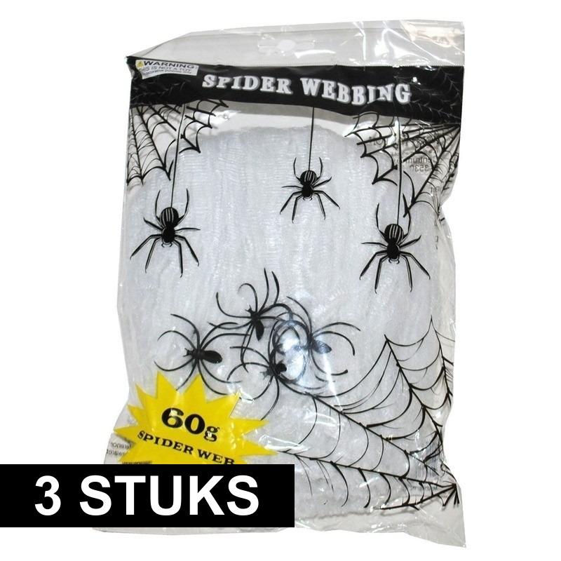 Halloween - 3x Wit horror spinnenweb met spinnen 60 gr