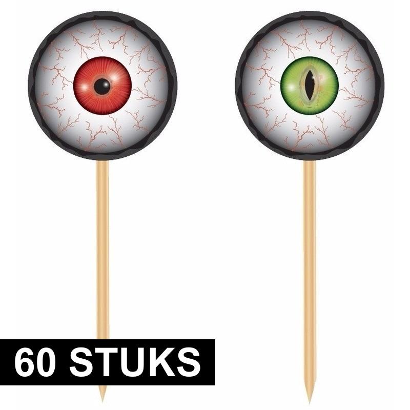Halloween - 60x Horror halloween cocktailprikkers met oogbollen