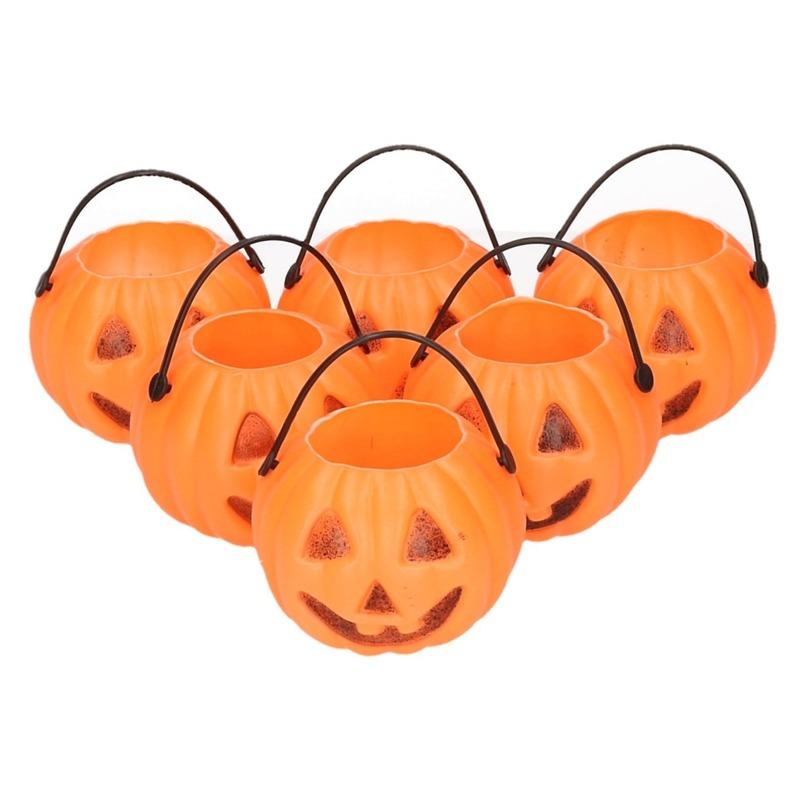 Halloween - 6x Halloween pompoen emmers 5 cm