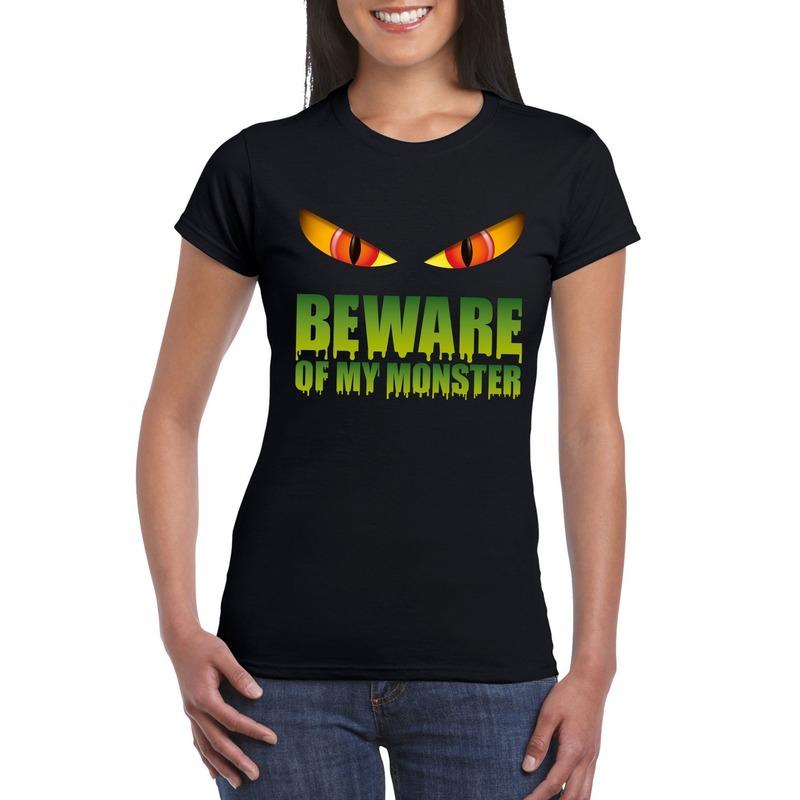 Halloween - Beware of my monster Halloween t-shirt zwart dames