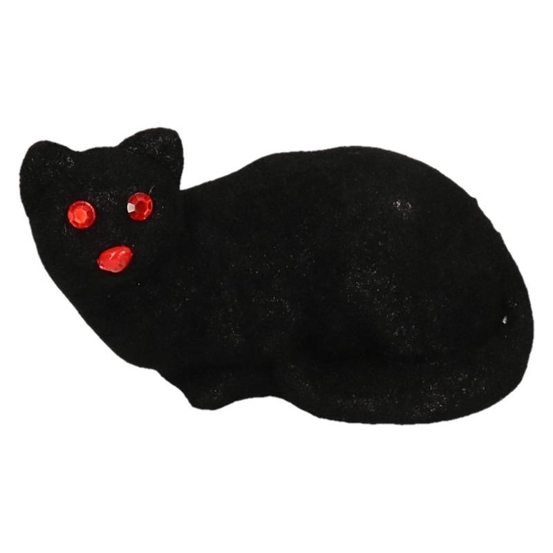 Halloween deco zwarte kat van 23 cm