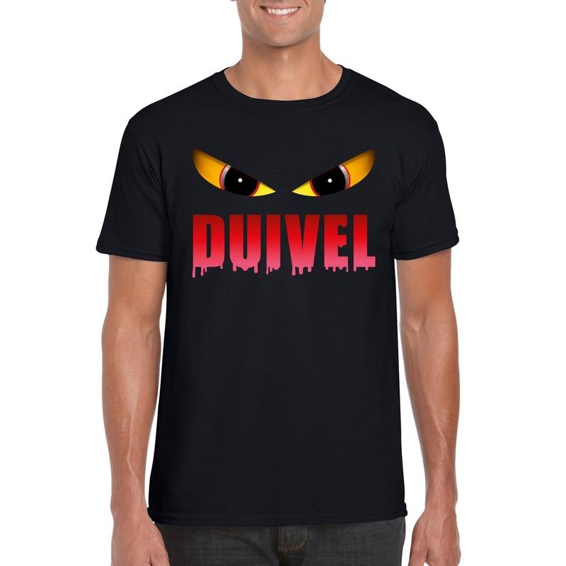 Halloween duivel ogen t-shirt zwart heren