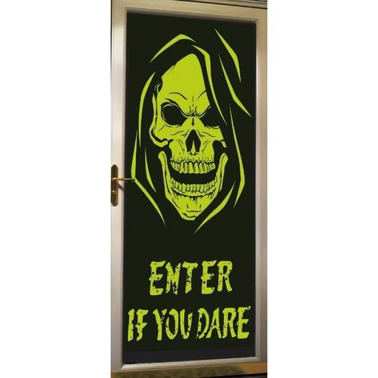 Halloween - Glow in the dark halloween deurposter met skelet