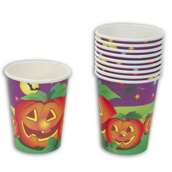 Halloween - Halloween feestbekers pompoen 10 stuks