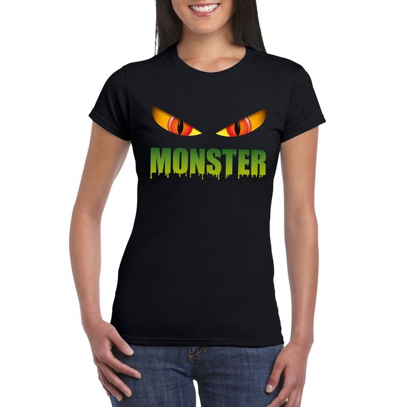 Halloween - Halloween monster ogen t-shirt zwart dames